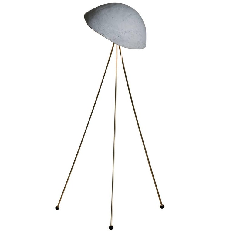Funny Buddy Floor Lamp with Concrete Noggin and Brass Tripod Legs