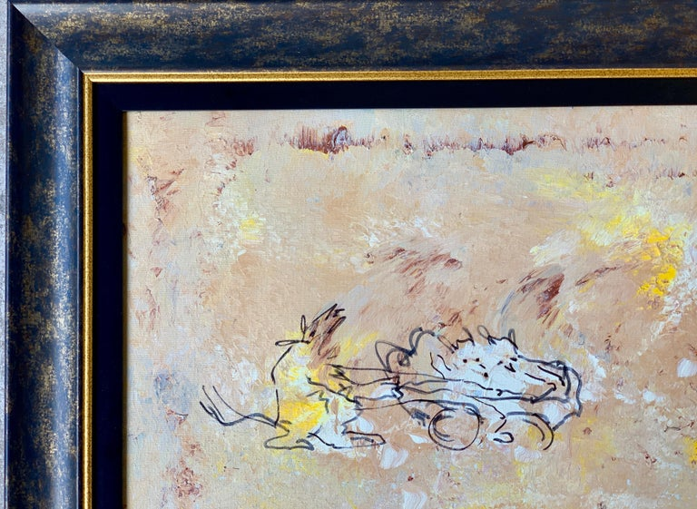 """Humorous original oil on canvas with black ink, painting by deceased American comedienne, Phyllis Diller (1917-2012), which she titled, """"Two Idiots On A Bicycle Pulling A Large Animal"""" written on the wood canvas stretcher, and """"Subservient Dog"""
