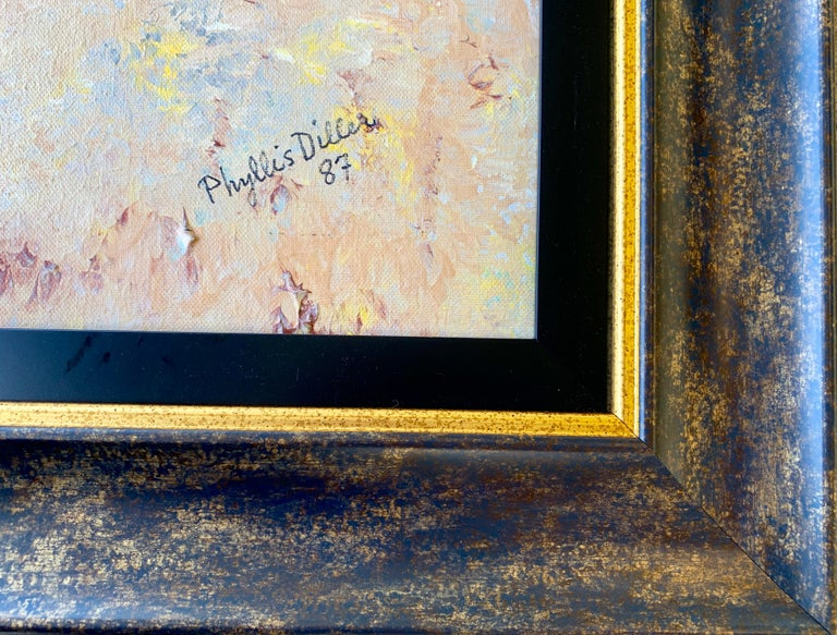 Modern Funny Comedienne Phyllis Diller Original Oil Painting on Canvas with 2 Titles For Sale