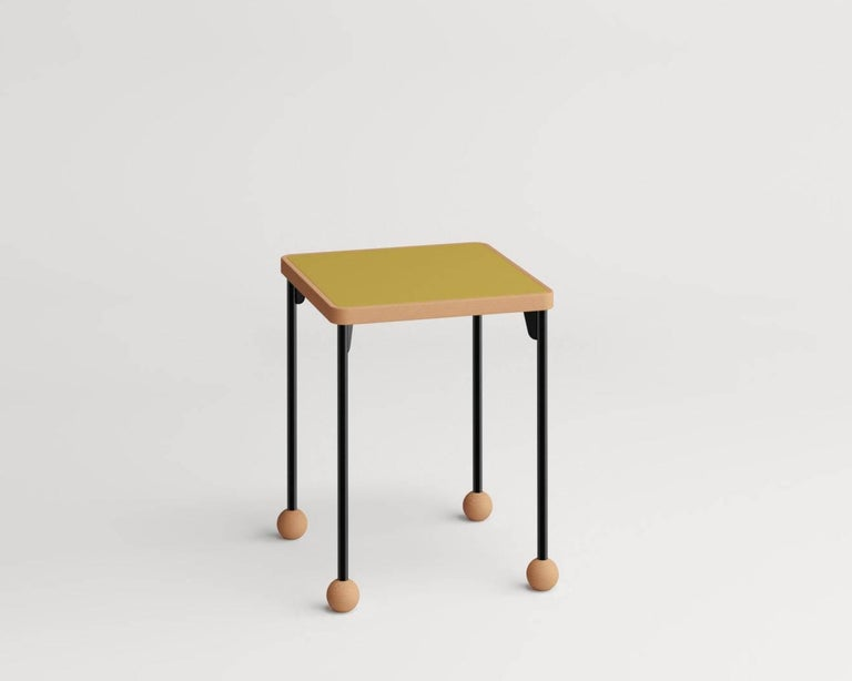 Stools or side tables by Russian designer Dmitry Samygin  Beech wood, metal and linoleum Forbo Measures: 45.7 cm x 35.6 cm x 35.6 cm  Available colors: black, grey, red, yellow and green  [Sold individually]  After studying Applied Arts at the