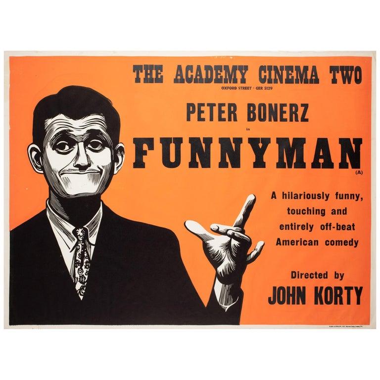 Funnyman 1968 Academy Cinema UK Quad Film Poster, Strausfeld For Sale