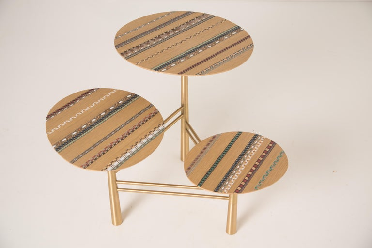 Lebanese Funquetry Pebble Table with traditional Middle Eastern marquetry patterns For Sale