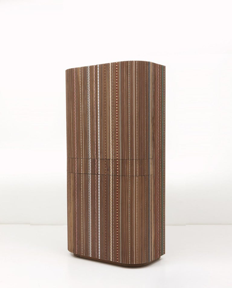 The Funquetry furniture collection explores a playful, contemporary interpretation of the traditional handcraft technique of marquetry.