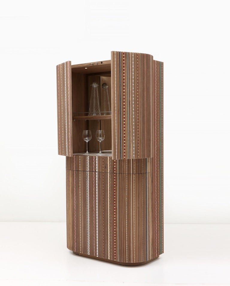 Modern Funquetry Pleated Bar in walnut wood with Middle Easter marquetry patterns For Sale