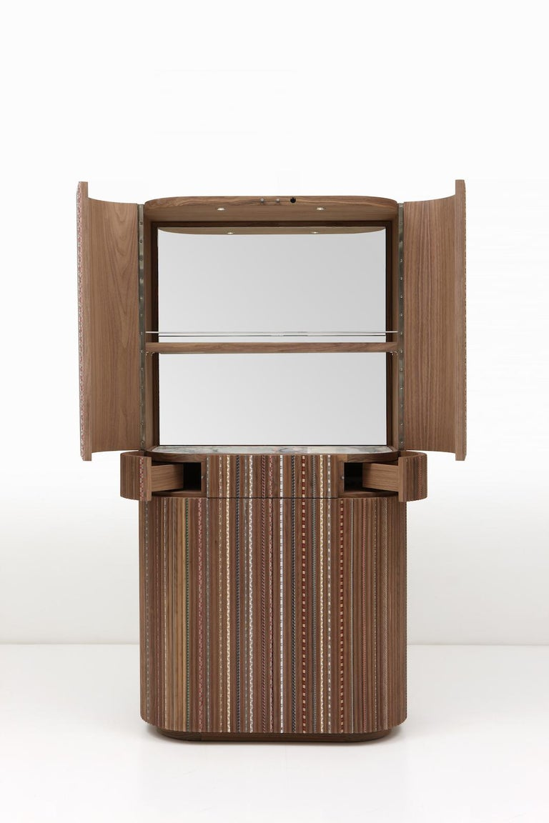Lebanese Funquetry Pleated Bar in walnut wood with Middle Easter marquetry patterns For Sale