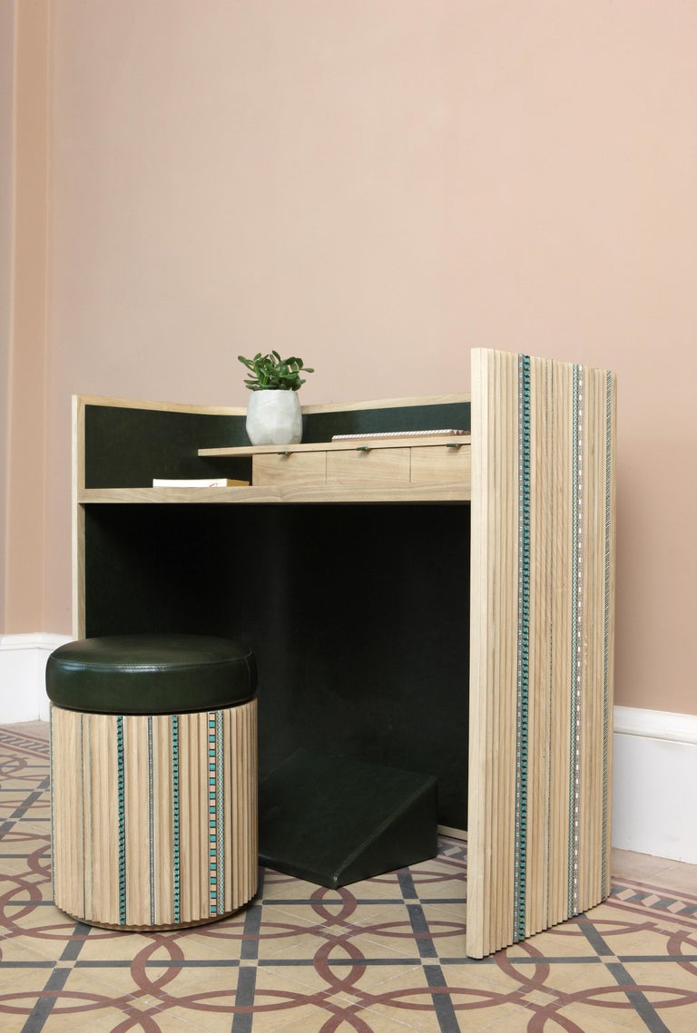 Modern Funquetry Pleated Secretaire in oak wood with Middle Easter marquetry patterns For Sale