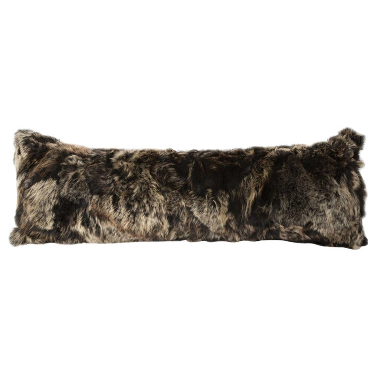 Fur and Silk Lined Body Pillow, Truffle, Real Toscana Sheep Fur For Sale