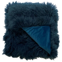 Fur Blanket throw Mongolian Fur Sailor Blue