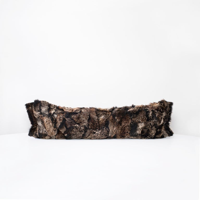 Modern Fur Body Pillow, Black, Real Toscana Sheep Fur For Sale