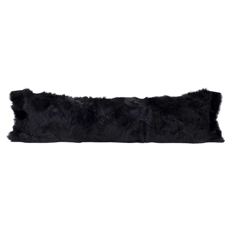 Fur Body Pillow, Black, Real Toscana Sheep Fur For Sale