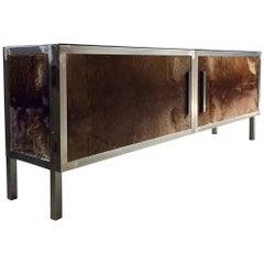 Fur Fronted Credenza Sideboard Media Cupboard Polished Steel Custom-Made Bespoke