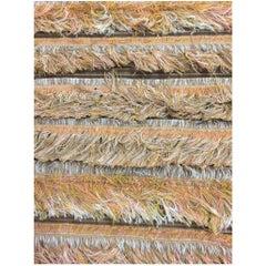 Fur Screen Beige Loom Selvedge & Corrugated Cardboard Textile by Liz Collins