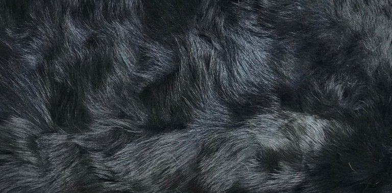 American Fur Snowball Pillow - Black For Sale