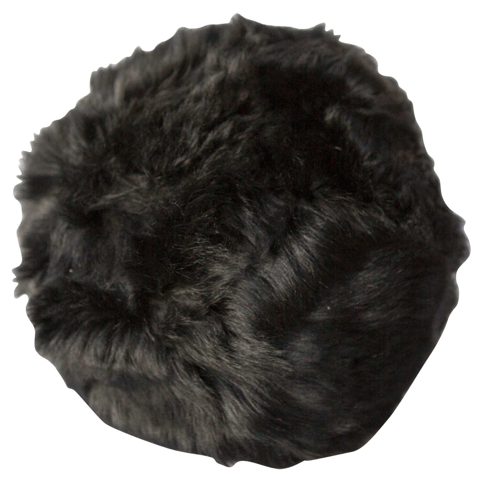 Fur Snowball Pillow - Black
