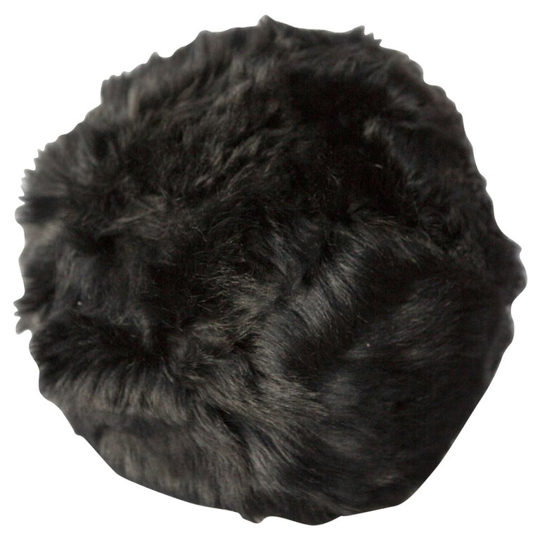 Fur Snowball Pillow - Black For Sale