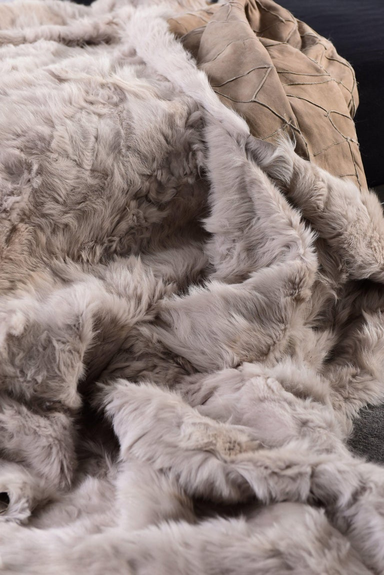 Fur Snowball Pillow, Pearl Grey For Sale 1