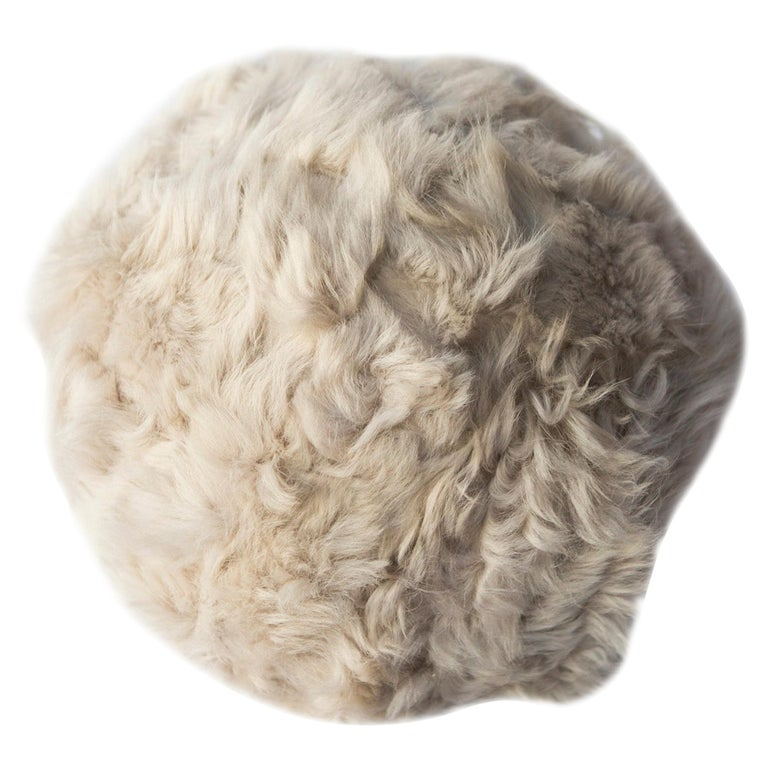 Fur Snowball Pillow, Pearl Grey For Sale