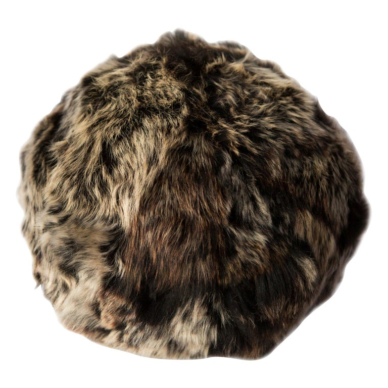 Fur Snowball Pillow - Truffle For Sale