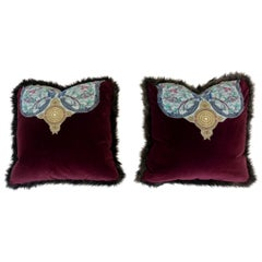 Fur Trimmed Velvet Pillows with Bird Appliqué