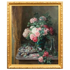 Furcy de Lavault, Still Life of Roses and Plums, 19th Century