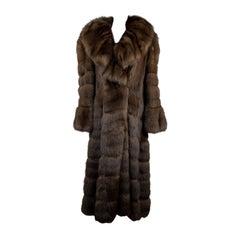 Furio Pellicce Vintage Brown Zibeline Sable Fur Long Coat