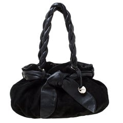 Furla Black Leather and Suede Bow Hobo
