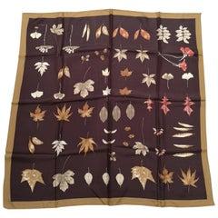 Furla brown leaves silk scarf foulard