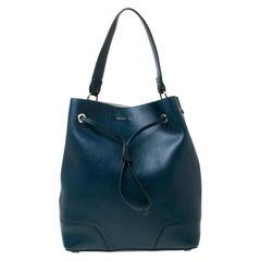 Furla Deep Sea Green Leather Stacy Drawstring Bucket Bag