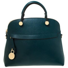 Furla Green Leather Piper Satchel