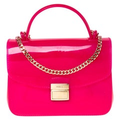 Furla Hot Pink Rubber Candy Top Handle Bag