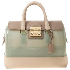 Furla Mint Green/Beige Glossy Rubber and Leather Push Lock Candy Satchel