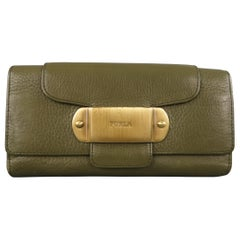FURLA Olive Green Leather Gold Plate Snap Checkbook Wallet