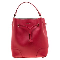 Furla Red Leather Stacy Drawstring Bucket Bag