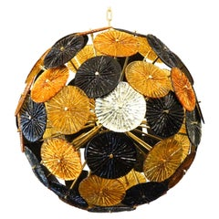 Furnace Donà Mid-Century Modern Amber Black Grey Murano Glass Chandelier, 1998