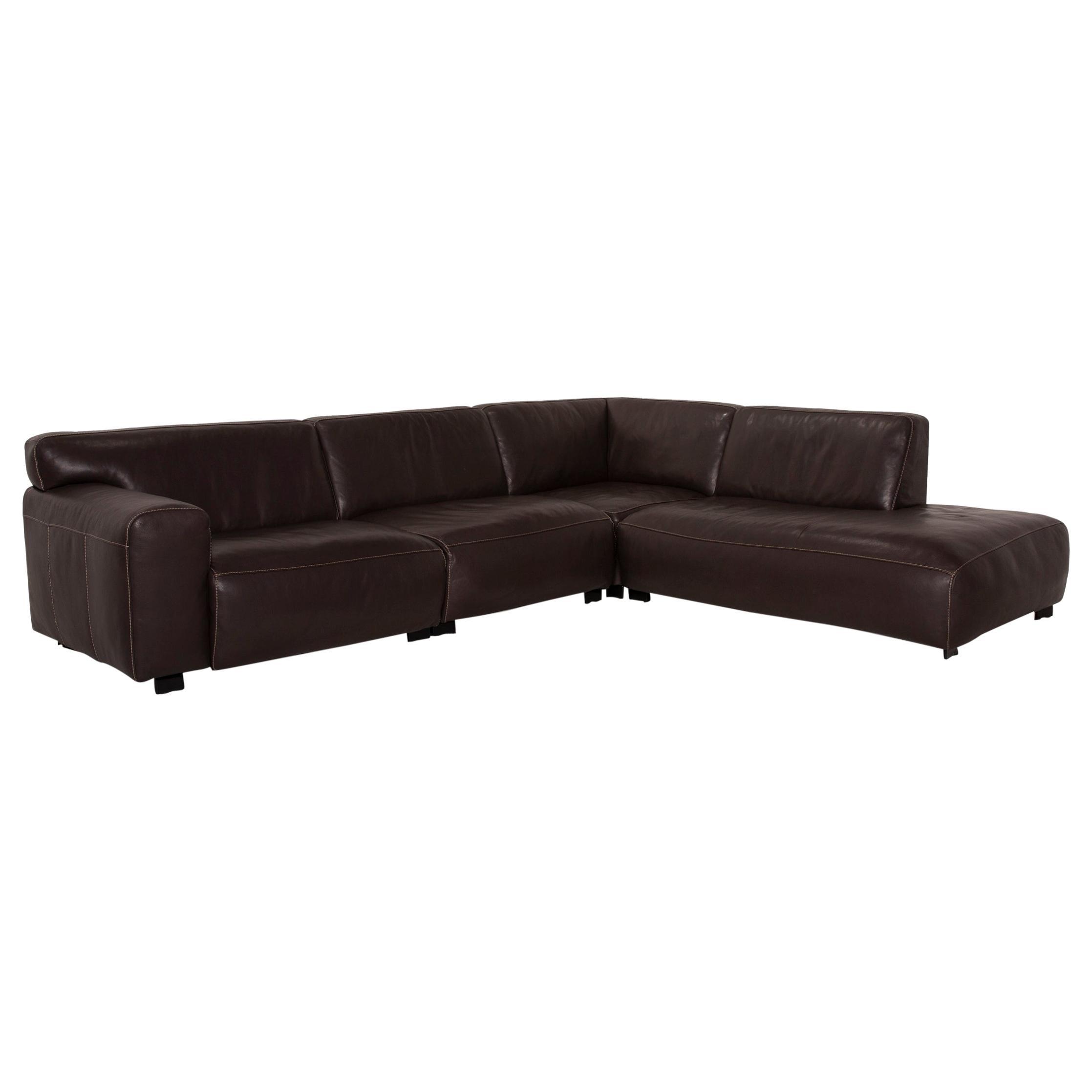 Furninova Leather Sofa Brown Corner Sofa