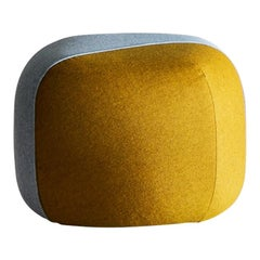 Furoshiki Small Pouf in Yellow and Blue Bicolour Upholstery by E-GGS