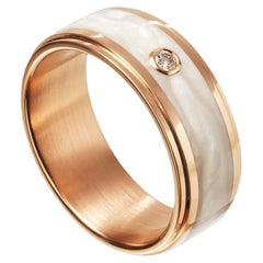 Furrer Jacot 18 Kara Rose Gold and Pearly White Ceramic Diamond Band