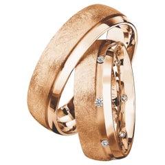 Furrer Jacot 18 Karat Rose Gold Channel Textured Diamond Wedding Band