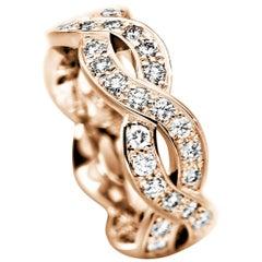 Furrer Jacot 18 Karat Rose Gold Diamond Twisted Band