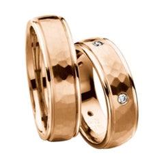 Furrer Jacot 18 Karat Rose Gold Hammered Wedding Band