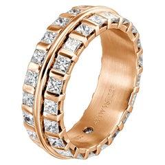 Furrer Jacot 18 Karat Rose Gold Princess Cut Eternity Diamond Band