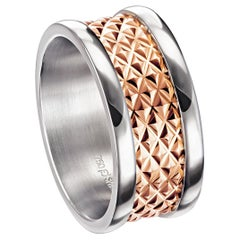Furrer Jacot 18 Karat Two-Tone White and Rose Gold Chunky Textured Band