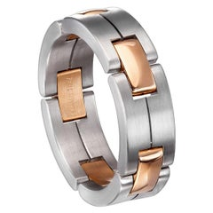 Furrer Jacot 18 Karat White and Rose Gold Two-Tone Matte Collapsible Link Ring