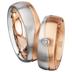 Furrer Jacot 18 Karat White and Rose Gold Two-Tone Wavy Grooved Band