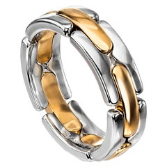 Furrer Jacot 18 Karat White and Yellow Gold Two-Tone Collapsible Link Ring