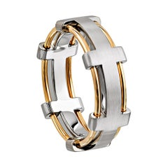 Furrer Jacot 18 Karat White and Yellow Gold Two-Tone Wire Band