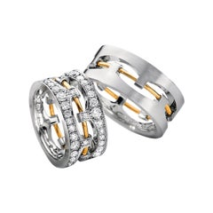 Furrer Jacot 18 Karat White and Yellow Gold Two-Tone Wire Diamond Band