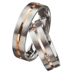Furrer Jacot 18 Karat White Gold and Rose Gold Two-Tone Channeled Men's Band