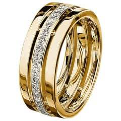Furrer Jacot 18 Karat Yellow Gold 3-Band Diamond Ring