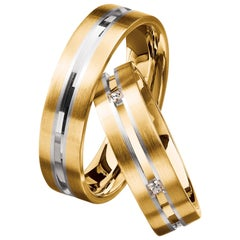Furrer Jacot 18 Karat Yellow Gold and White Gold Two-Tone Channeled Men's Band